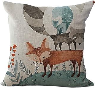 ChezMax Cute Fox Pattern Cushion Cover Cotton Linen Pillowslip Square Decorative Throw Pillow Case 18 X 18''