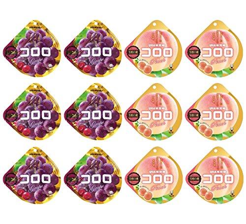 12 Bags of UHA Mikakuto Kororo Gummy 40g Grapeand peach Flavor