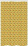 ABAKUHAUS Lebensmittelkunst Schmaler Duschvorhang, Paprika & Scheiben Muster, Badezimmer Deko Set aus Stoff mit Haken, 120 x 180 cm, Marigold Erde Gelb Hellgelbe Olivgrün