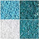 1/4 TILA 40 Grams Teal, Miyuki Quarter Tila 2 Hole Bead Kit, 4 Colors of 10 Grams Each. Turquoise Rainbow, Teal Matte AB, Teal Transparent Rainbow, and Matte Rainbow White