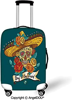 AngelDOU Printed Thicker Travel Suitcase Protective Cover Day Of The Dead Decor Mexican Festive Hat Skull with Roses Print Petrol Blue Turquoise Orange Marigold Luggage Case Travel Accessories.