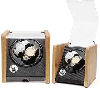 zyy klockräknare 2 klockor automatisk klocka splitter trä urtavla PU kolfiber läder tyst motor 5 vridlägen transparent fön...