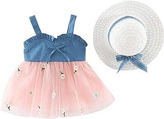 Vestido Bebé Niña Verano Elegante - Falda Corta de Niña Sin Manga + Sombrero de Sol con Lazo Conjunto de 2 Piezas - Vestid...