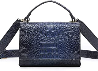 Textured handbag, versatile shoulder bag, messenger small square bag, scarf hand strap, simple atmosphere, essential for travel dating (Color : Blue, Size : One size)