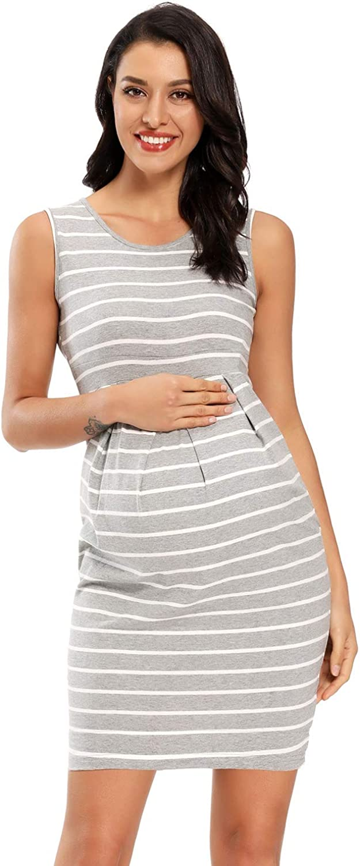 CareGabi Women/'s Maternity Dress Sleeveless Front Pleat Pregnancy Tank Dress Casual and Elegant Dress for Baby Shower