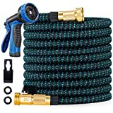200 FT Expandable Flexible Garden Hose - 2021 Upgraded Retractable Water Hose with Spray Nozzle,Extra-Strong Brass Connector,Superior Strength Layers Latex- Expanding Pipe for Watering and Washing