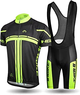 INBIKE Men's Cycling Jersey Set Short Sleeve Full Zip Moisture Wicking Breathable Quick-Dry,Bike Shirt with 3D Padded Shorts