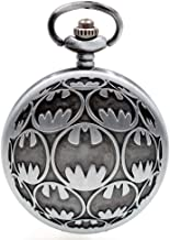 Vintage Movie Quartz Pocket Watch for Mens Womens with Necklace Chain&Fob Pocket Chain Christmas Birthday Gifts (Batman)