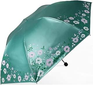 Umbrella Household Folding Umbrellas UV Protection Umbrellas Metal Umbrella Folding Umbrellas Three Colors Available Huhero (Color : Green)