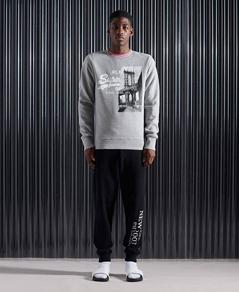 Superdry VL NYC Photo Crew Pull-Over Homme Grey Marl