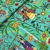 Kt KILOtela Tela de loneta Estampada Digital - Half Panamá 100% algodón orgánico Oeko-Tex Standard 100 - Retal de 100 cm Largo x 280 cm Ancho | Frida Kahlo - Verde Menta ─ 1 Metro