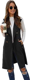 SheIn Women's Double Breasted Long Vest Jacket Casual Sleeveless Pocket Outerwear Longline