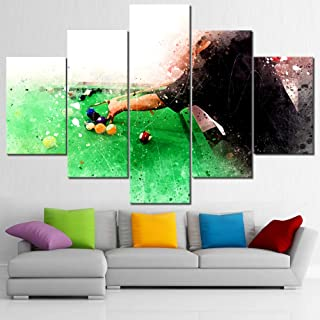 TUMOVO Large Canvas Wall Art for Living Room Playing Snooker on Colorful Watercolor Painting Abstract Artwork HD Photo Poster and Prints Gallery Wrapped Framed Ready to Hang 5 Panel(60''W x 40''H)