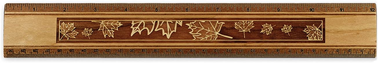 "product image for 12"" Solid Wood Artisan Ruler - Engraved Maple Leaves Design - Measures Inches & Centimeters - Made in USA"