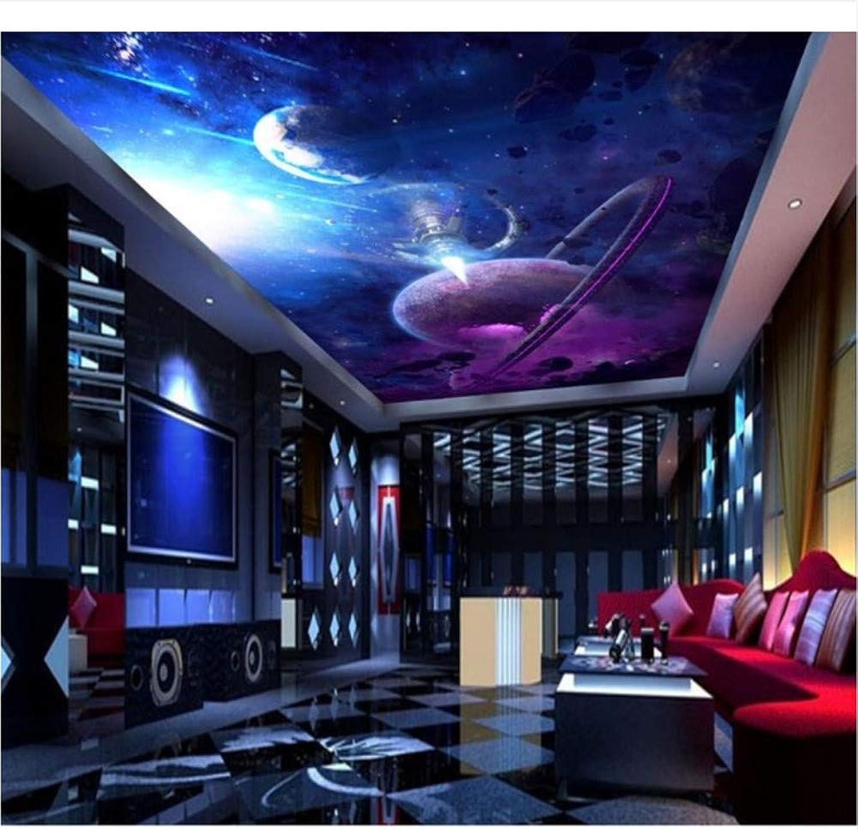 Qqasd Carta da parati soffitto 3D atmosfera Pianeta astronave Carta da parati soffitto per pareti 3D non-tessuto Per soggiorno KTV soffitto arrojoamento-190X130CM