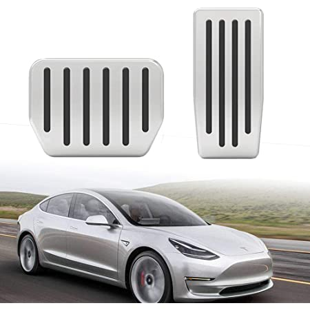 shanmu Accelerator pedal brake pedal cover non-slip pedal Compatible with Tesla Model 3 2017-2019 Stainless steel brake accelerator pedal