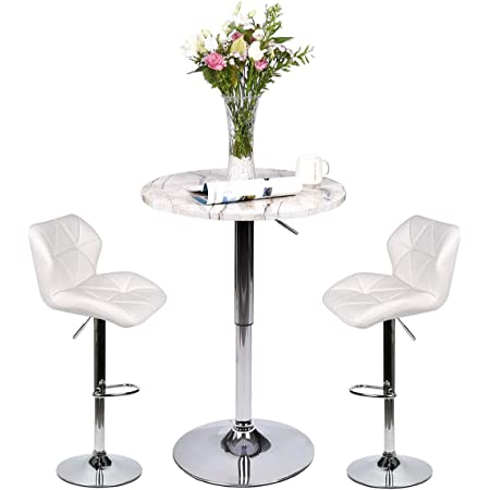 Amazon Com Yourlite Pub Table Set Of 3 Adjustable Round Table With 2 Swivel Stool Pu Leather Height Adjustable White Barstools And Marble Stripe Pub Table Black Kitchen Barstools Table Chair Sets