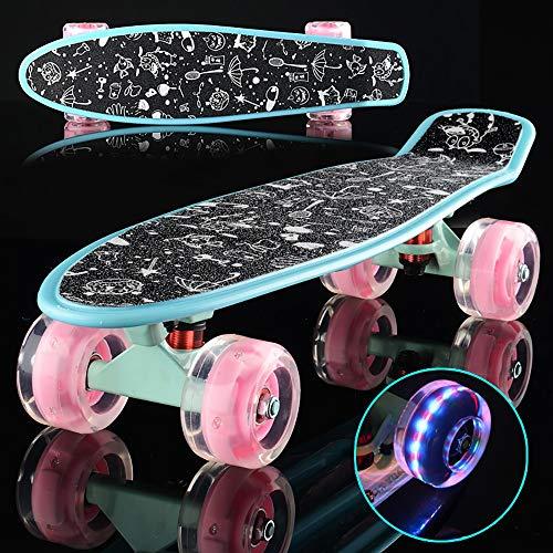 SCF Skateboard Planche À roulettes avec Roues à Del, Enfant, Complete Retro Plastic Mini Cruiser Max. Charge Maximale : 100 kg pour Les Enfants, Jeunes et Adultes 58x15x13.5cm