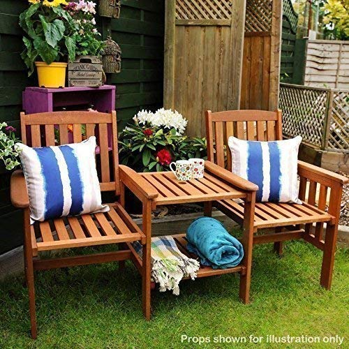 garden mile® Acacia Hardwood Garden Love Seat Twin Jack And Jill Seat With square Table. Wooden Garden Bench Companion Seat Set Outdoor Garden Tete-a-Tete Seat Garden Furniture