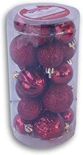 Holiday Time Miniature Christmas Tree Shatterproof Ornaments - Burgundy - 20 Count