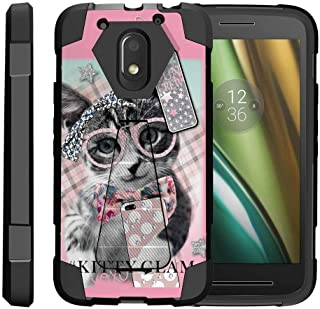 TurtleArmor | Compatible with Motorola Moto E3 Case | Moto E 3rd Gen | Moto G4 Play Case [Dynamic Shell] Hard Hybrid Silicone Kickstand Impact Cover Protection Girls - Hipster Cat