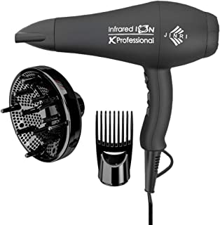 1875W Professional Hair Dryer, Jinri 3 Minute Fast Drying Infrared Blow Dryer with Diffuser & Comb & Concentrator, Negative Ionic Salon Hairdryer AC Motor with 2 Speed and 3 Heat Setting Black