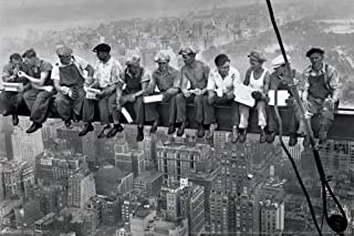 Pyramid America Charles Ebbets Workers Lunch ATOP Skyscraper Rockefeller Center Black White Photo Cool Wall Decor Art Print Poster 18x12