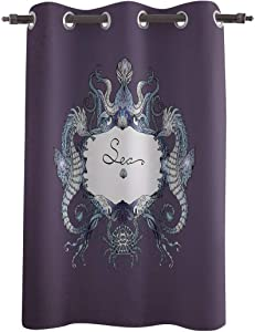 Bulingling Window Curtains Drapes Panel(63inch Length),Vintage Ocean Animal Hippocampus Window Treatments for Bedroom/Living/Dining/Kids Room,Grommet Thermal Insulated Darkening Curtain,Purple
