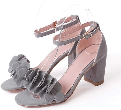 Sandalias de mujer Chunky botas de Flor de tacón Alto Hauszapatos con Punta Abierta Flock Lady Party Office zapatos
