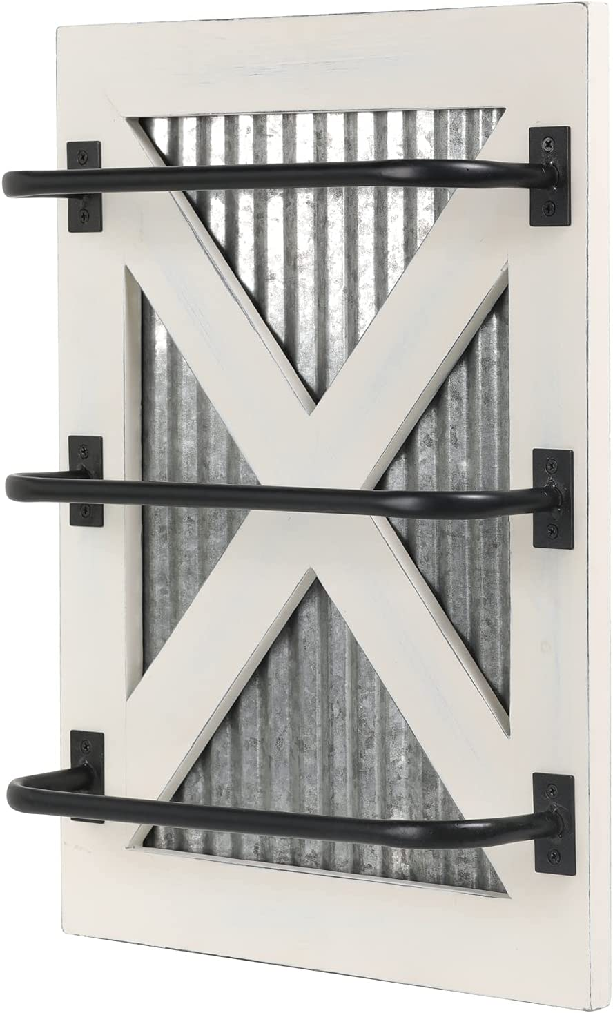 MyGift 3-Tier Large discharge sale Wall Mounted Vintage White Recommended and To Wood Black Metal