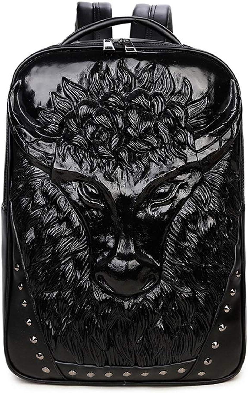 Herrenrucksack 3D Kuhkopf Tragbare Laptoptasche Diebstahlschutz PU Leder,schwarz