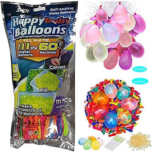 111PCS + 1000PCS Palloncini ad acqua colorati a riempimento rapido, 111 bombe ad acqua da 60 secondi, autosigillanti senza grovigli