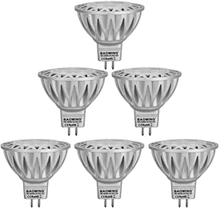 BAOMING MR16 LED Bulb,Soft White (2700~3000K), Bi Pin GU5.3 Base 7W/12V,560/LM, 50~75W MR16 Halogen Equivalent,38 Deg, 6-Pack