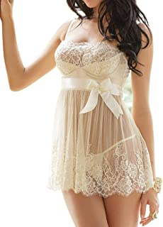 Womens Sheer Lingerie Dress Underwear Nightwear Sleepwear Babydoll G-string