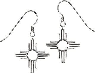 Tskies Enchantment Sterling Silver Dangle Earrings for Women Zia Pendant Native American Made Jewelry