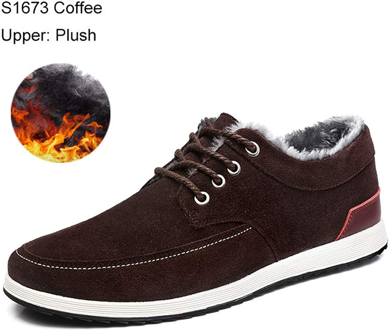 ZHRUI Men Leather Casual shoes Warm Winter Fashion Sneakers Male Suede Boat shoes (color   S1763 Coffee, Size   6.5 UK)