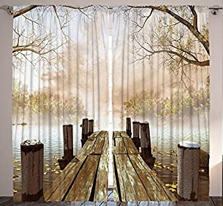 Ambesonne Autumn Curtains, Old Wooden Jetty on a Lake with Fallen Leaves and Foggy Forest in Distance, Living Room Bedroom Window Drapes 2 Panel Set, 108