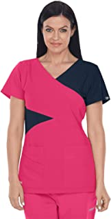 Grey's Anatomy Signature Color Block Top for Women - Soft Medical Scrub Top