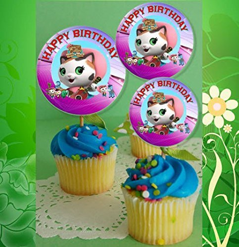 12 Happy Birthday Sheriff Callie Inspired Party Picks, Cupcake Picks, Cupcake Toppers #1