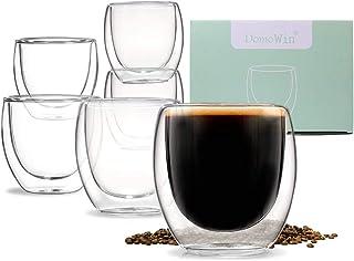 كؤوس بطبقة زجاجية مزدوجة لقهوة اسبريسو والقهوة التركية والشاي، فناجين قهوة للاسبريسو