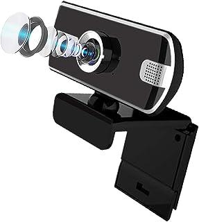 Webcam 1080p HD Computer Camera - Plug and Play USB Web Cam, PC Desktop & Laptop w/Mic Live Streaming Webcam (Black-Silver...