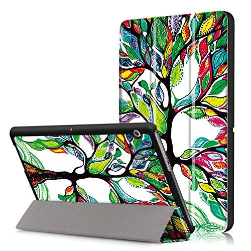 Xuanbeier Huawei MediaPad T3 10 Hülle Hülle-Ultra Dünn & Leicht PU Leder Schutzhülle Cover für Huawei MediaPad T3 10(9,6 Zoll)(Glücklicher Baum)