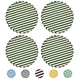Small Round Stool Cushions Set of 4 Chair Pads 13' x 13' for Dining Kitchen Chairs Seat Pads with Ties for High Stool Bistro Bar Seat, Green Stripe