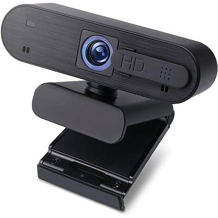 エレコム WEBカメラ 会議用カメラ マイク内蔵 200万画素 Full HD1920×1080ピクセル対応 オートフォーカス カメラシャッター付 ブラック WEBCAM-101BK