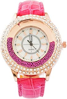 Loweryeah Womens Quartz Watch Artificial Leather Band Quicksand Beads Rhinestone Dial Analog Wrist Watch 25cm (Rose red)