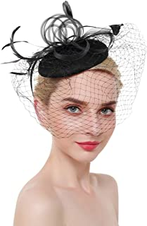 MEILIS Flower Cocktail Tea Party Headwear with Veil Feather Fascinators Derby Hat for Girls and Women