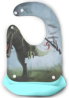 DINOSAURS RAINBOW Animals Sky Baby Bibs Silicone Teething Boys Starter Bib/Smock With Food Catcher Pocket