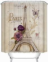 Zadaling Vintage Paris Themed Bluish Brown Eiffel Tower Bathroom Shower Curtain - Purple Flower Custom Polyester Fabric 72x78inch