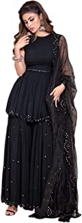 Ethnic Empire Women's Georgette Sharara Suit (Ethnic_ER127203, Black, Free Size)