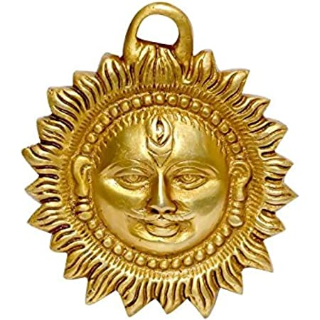 """ART SWAG Brass Idol of Sun Face Wall Hanging for Positivity at Home & Office, Product Size - L×W×H = (4"""")(10cm)×(0.5"""")(1.5cm)×(4"""")(10cm), Weight (0.300kg)"""